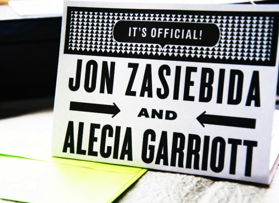 Neon Black White Graphic Wedding Invitations Kate Gabriel Folded 550x400 Alecia + Jons Black, White, and Neon Graphic Wedding Invitations