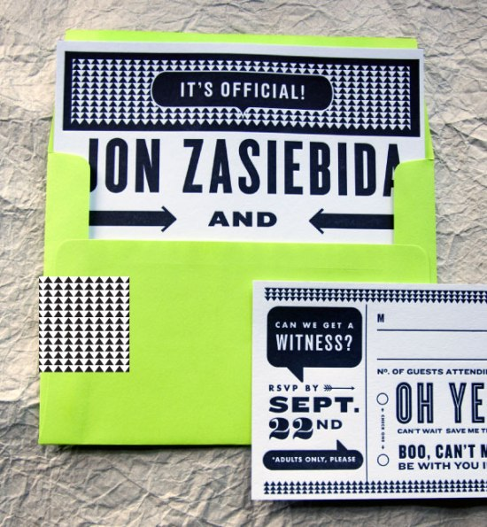 Neon Black White Graphic Wedding Invitations Kate Gabriel 550x595 Alecia + Jons Black, White, and Neon Graphic Wedding Invitations