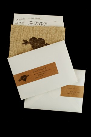 Rustic Whimsical Burlap Wedding Invitations2 300x451 Ashley + Nathans Whimsical and Rustic Burlap Wedding Invitations