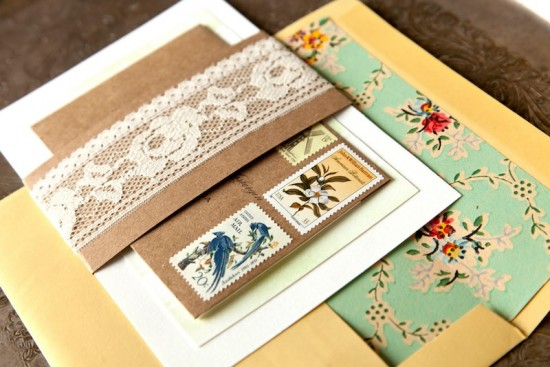 Eclectic Vintage Wedding Invitations Allie Ruth2 550x367 Jillian + Tims Eclectic Vintage Wedding Invitations