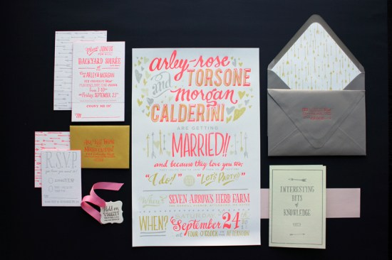 Ladyfingers Letterpress Neon Hand Lettering Wedding Invitations2 550x366 Arley Rose + Morgans Neon Wedding Invitations