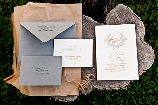 Orange Gray Letterpress Fall Wedding Invitations 550x367 Lauren + Andrews Orange and Gray Fall Wedding Invitations
