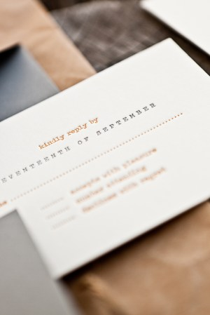 Orange Gray Letterpress Fall Wedding Invitations2 300x449 Lauren + Andrews Orange and Gray Fall Wedding Invitations