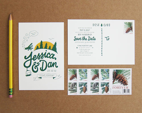 Rustic Evergreen Wedding Save the Date Postcard Scouts Honor Co Scouts Honor Co.