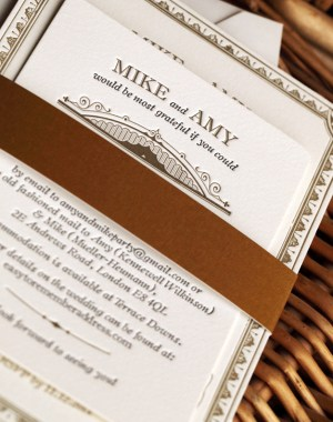 Vintage Inspired Gold Black Wedding Invitations3 300x380 Amy + Mikes Vintage Inspired Gold Letterpress Wedding Invitations