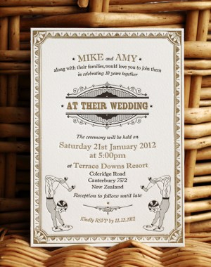 Vintage Inspired Gold Black Wedding Invitations4 300x380 Amy + Mikes Vintage Inspired Gold Letterpress Wedding Invitations