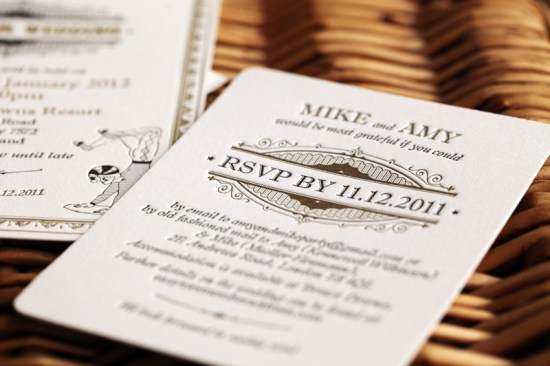 Vintage Inspired Gold Black Wedding Invitations6 550x366 Amy + Mikes Vintage Inspired Gold Letterpress Wedding Invitations
