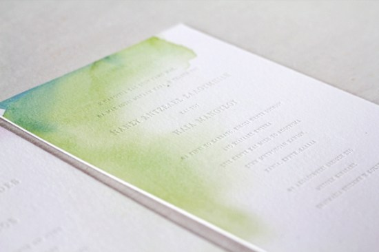 Watercolor Letterpress Wedding Invitations Oh Happy Day Jordan Ferney 550x366 Elias + Nancys Watercolor Letterpress Wedding Invitations by Oh Happy Day