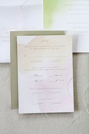 Watercolor Letterpress Wedding Invitations Oh Happy Day Jordan Ferney4 300x450 Elias + Nancys Watercolor Letterpress Wedding Invitations by Oh Happy Day