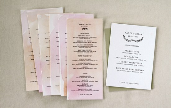 Watercolor Letterpress Wedding Reception Menus Oh Happy Day Jordan Ferney2 550x347 Elias + Nancys Watercolor Letterpress Wedding Invitations by Oh Happy Day