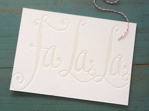 gracie finn blind embossed falala holiday card 2011 Holiday Card Round Up, Part 2