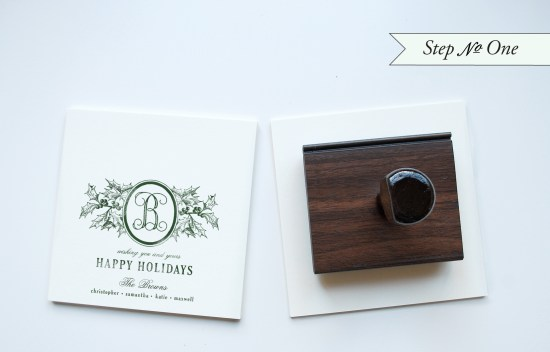 holidaystep2 550x352 DIY Tutorial: Rubber Stamp Holiday Cards