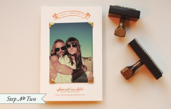 photo step2 550x352 DIY Tutorial: Rubber Stamp Photo Card Save the Dates