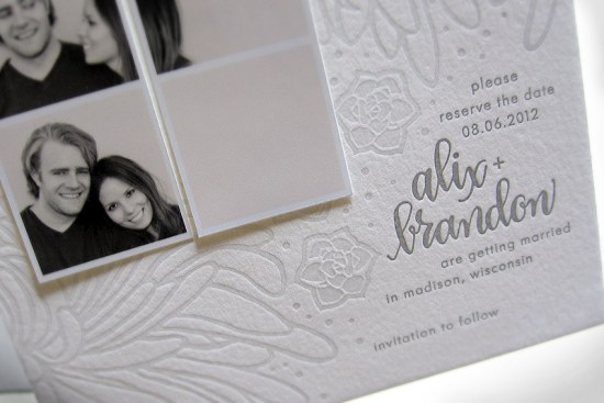 Gray Letterpress Wedding Save the Dates Ephemera Press 550x367 Alix + Brandons Photostrip and Letterpress Save the Dates