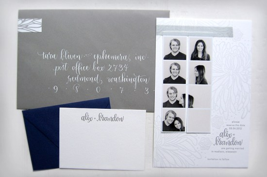 Gray Letterpress Wedding Save the Dates Ephemera Press2 550x366 Alix + Brandons Photostrip and Letterpress Save the Dates