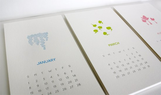 Honziukle Letterpress Calendar 550x326 2012 Calendar Round Up, Part 10