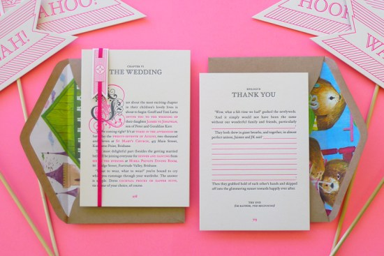 Neon Pink Storybook Wedding Invitations The Hungry Workshop 550x367 Best of 2011: Neon Storybook Wedding Invitations
