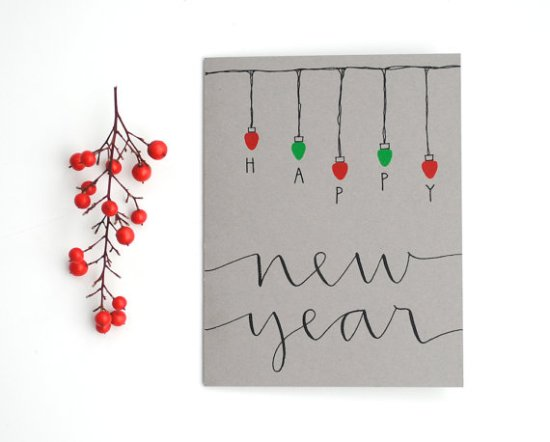 Sparrows Nest Script New Year Card 550x442 2011 Holiday Card Round Up, Part 12