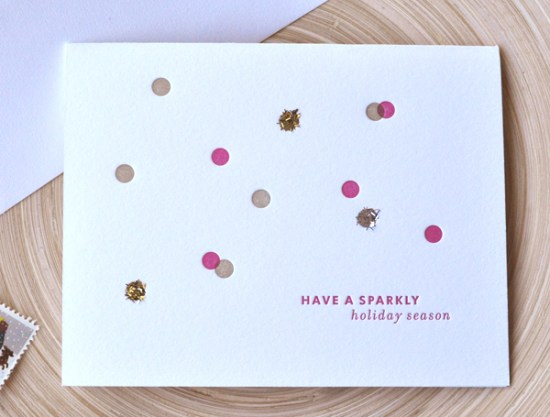 letterpress spakle holiday card dear lola letterpress 550x417 2011 Holiday Card Round Up, Part 12
