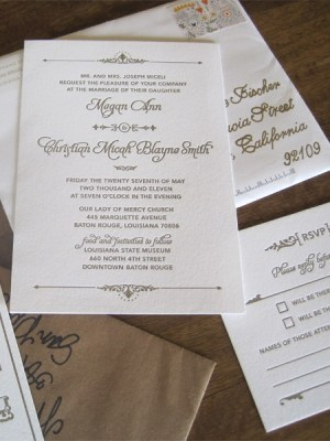 Art Deco Letterpress Wedding Invitations2 300x400 Megan + Micahs Metallic Art Deco Letterpress Wedding Invitations