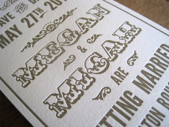 Art Deco Letterpress Wedding Invitations5 550x412 Megan + Micahs Metallic Art Deco Letterpress Wedding Invitations