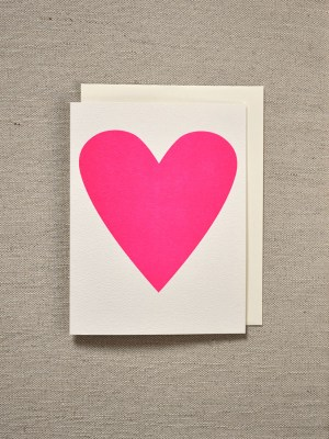 Banquet Workshop Neon Pink Heart Card 300x400 Seasonal Stationery: Valentines Day Cards