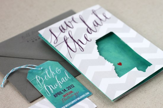 Chevron Stripe Calligraphy Wedding Save the Dates August Blume2 550x366 Beth + Michaels Chevron Stripe Calligraphy Save the Dates