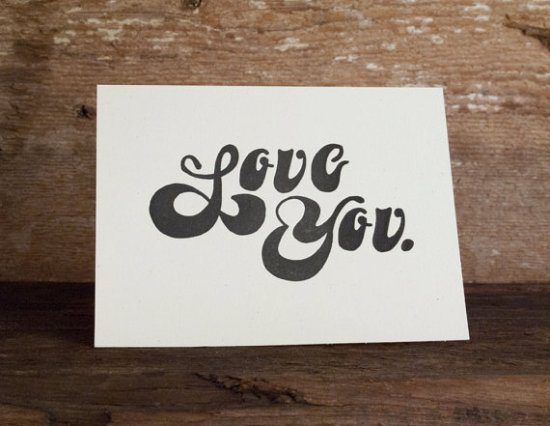 Cleanwash Letterpress Love Valentine 550x426 Seasonal Stationery: Valentines Day Cards, Part 2