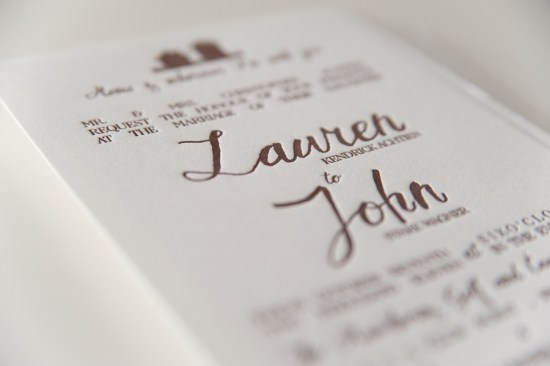 Rustic Letterpress Wedding Invitations Three Fifteen Design8 550x366 Lauren + Johns Rustic Home Letterpress Wedding Invitations