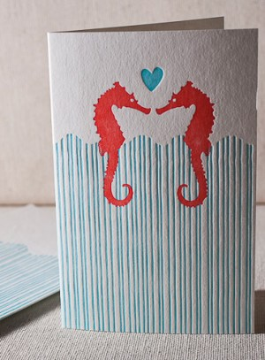 Smock Valentines Day Heart Card Seahorse 300x407 Seasonal Stationery: Valentines Day Cards, Part 4