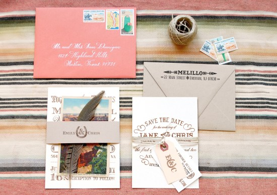 western final small 550x388 DIY Tutorial: Rubber Stamp Vintage Western Wedding Save the Dates + Invitations