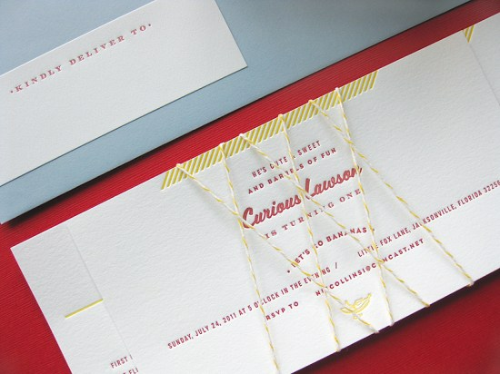 Curious George First Birthday Invitations Duet Letterpress2 550x412 Curious George Inspired Birthday Party Invitations for Lawson