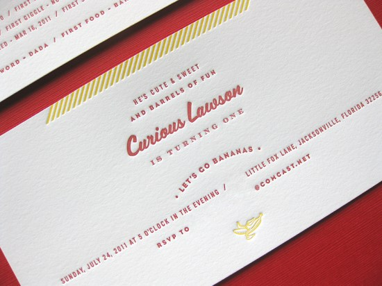 Curious George First Birthday Invitations Duet Letterpress4 550x412 Curious George Inspired Birthday Party Invitations for Lawson