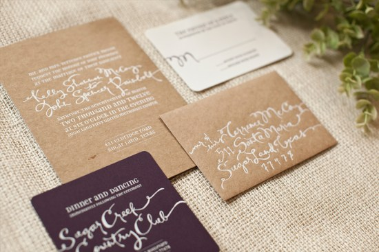 Whimsical Hand Lettering Wedding Invitations Save the Dates Atheneum Creative2 550x367 Kelly + Johns Modern Wedding Invitations + Save the Dates