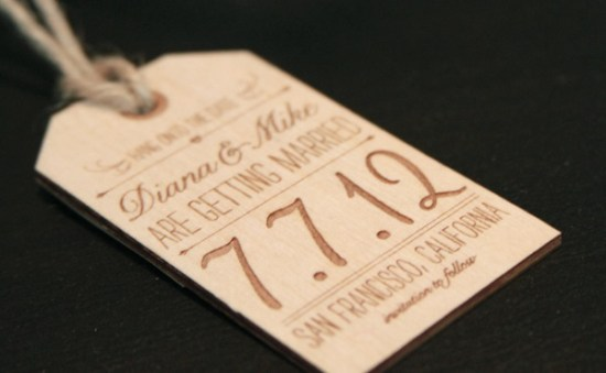 Wood Engraved Wedding Save the Date JolieJolie 550x339 Diana + Mikes Wood Engraved Save the Dates