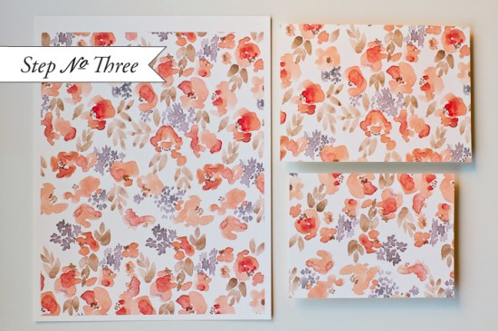 step3a 550x366 DIY Tutorial: Watercolor Floral Pattern Wedding Invitations