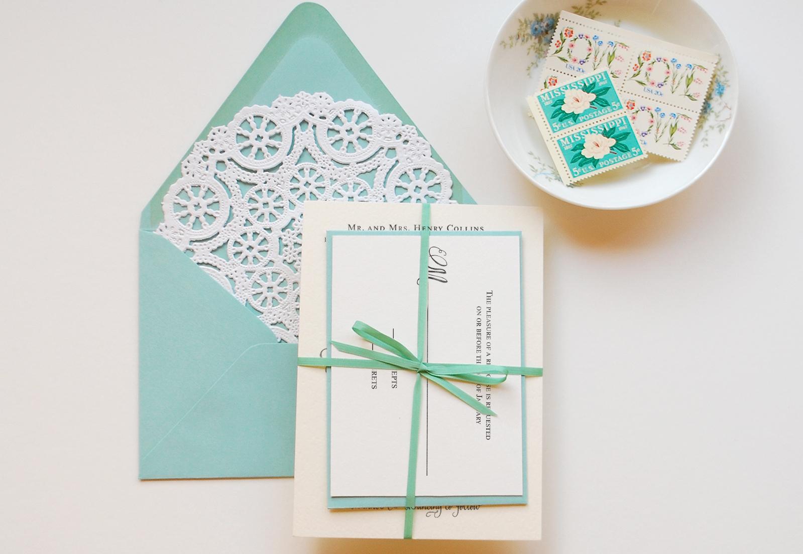 diy tutorial little blue box inspired rubber stamp wedding invitations diy wedding invitation Tiffany Blue DIY Wedding Invitation Suite