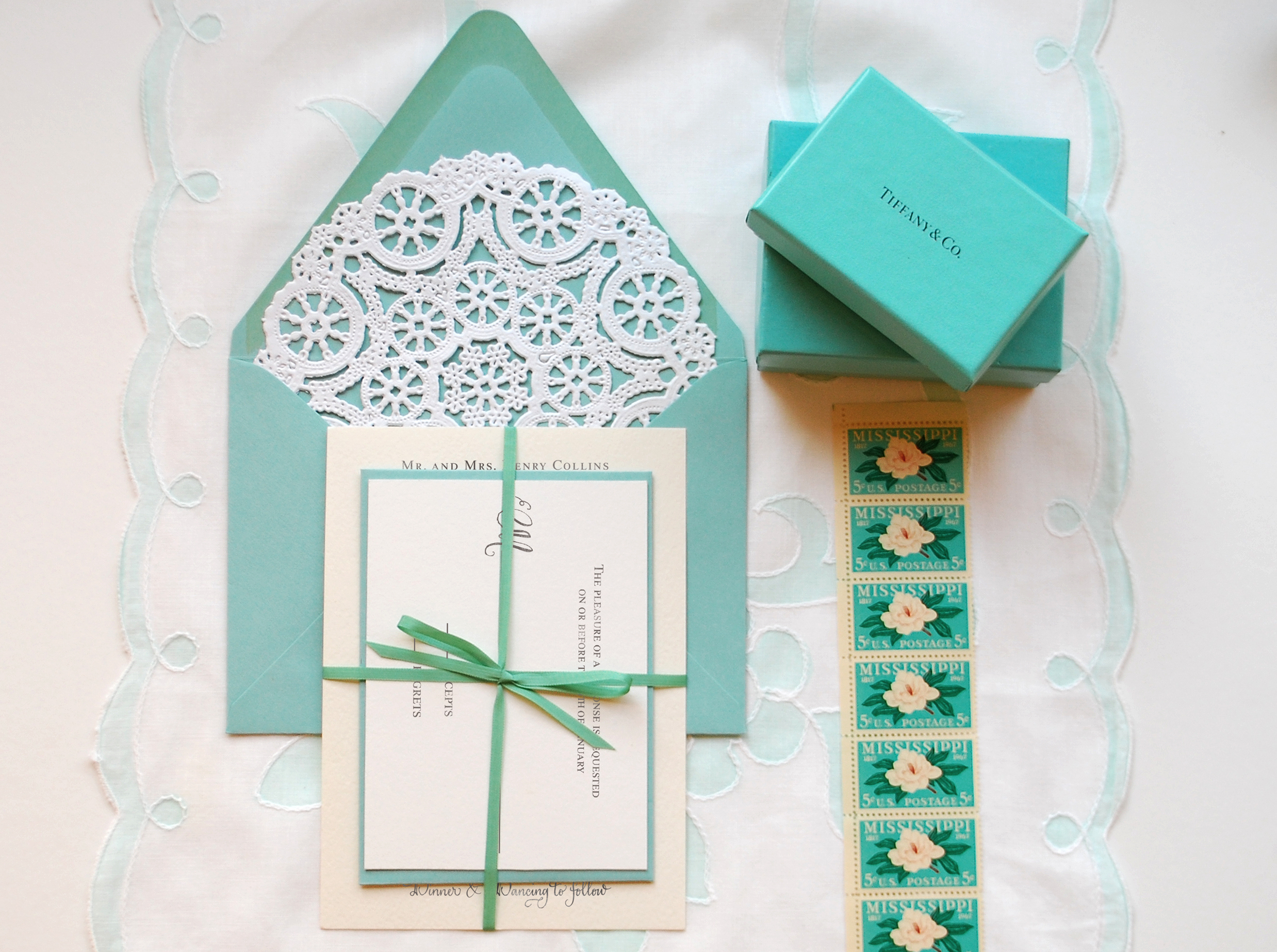 diy tutorial little blue box inspired rubber stamp wedding invitations tiffany blue wedding invitations Tiffany Blue DIY Wedding Invitation Suite