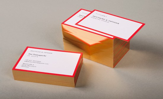 Deutsche Japaner Red Gold Foil Edge Business Cards 550x336 Business Card Ideas and Inspiration #11