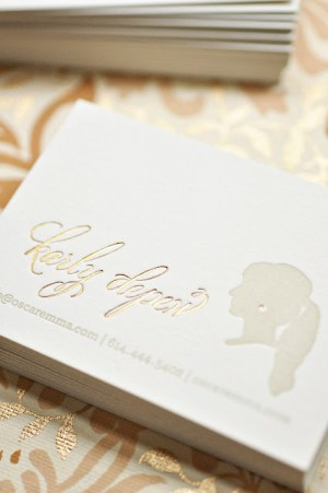 Oscar Emma Gold Foil Gray Letterpress Business Cards2 300x451 Business Card Ideas and Inspiration #12