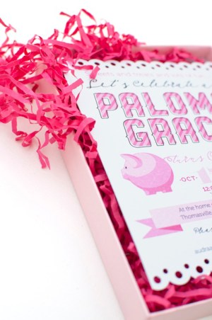 Pink Piggy Birthday Party Invitations Coral Pheasant3 300x452 Palomas Pink + Playful First Birthday Party Invitations