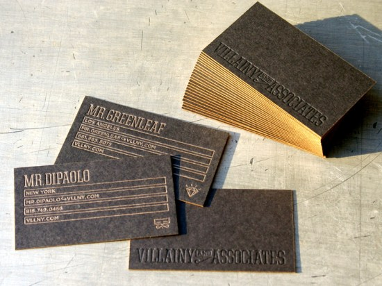 Studio on Fire Black Business Cards Gold Edge Paint 550x412 Business Card Ideas and Inspiration #11