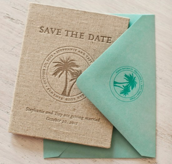 Tropical Bahamas Passport Save the Dates Linen Letterpress Atheneum Creative 550x525 Stephanie + Treys Tropical Passport Save the Dates