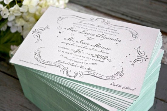 Vintage Inspired Blue Gray Letterpress Wedding Invitations Edge Painting 550x366 Zayra + Ivans Vintage Inspired Gray + Celadon Wedding Invitations