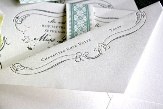 Vintage Inspired Blue Gray Letterpress Wedding Invitations Envelope 550x366 Zayra + Ivans Vintage Inspired Gray + Celadon Wedding Invitations