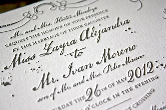 Vintage Inspired Blue Gray Letterpress Wedding Invitations Text 550x366 Zayra + Ivans Vintage Inspired Gray + Celadon Wedding Invitations