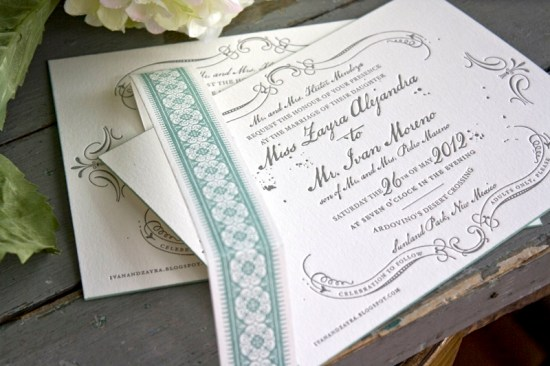 Vintage Inspired Blue Gray Letterpress Wedding Invitations2 550x366 Zayra + Ivans Vintage Inspired Gray + Celadon Wedding Invitations