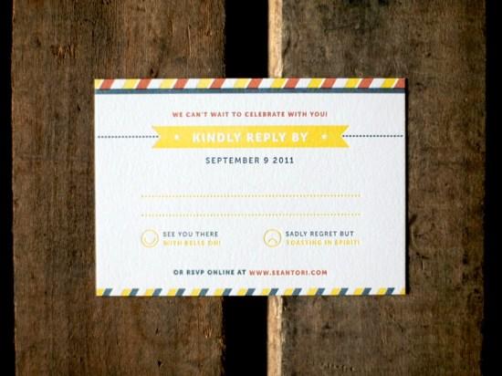 Modern Americana Letterpress Wedding Invitations Ketchup Mustard3 550x412 Sean + Toris Modern Primary Color Wedding Invitations