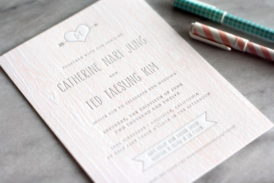 Pink Faux Bois Letterpress Wedding Invitations Truly Smitten Studio 550x367 Catherine + Teds Modern and Rustic Faux Bois Wedding Invitations