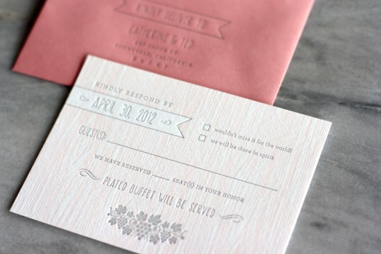 Pink Faux Bois Letterpress Wedding Invitations Truly Smitten Studio8 550x367 Catherine + Teds Modern and Rustic Faux Bois Wedding Invitations